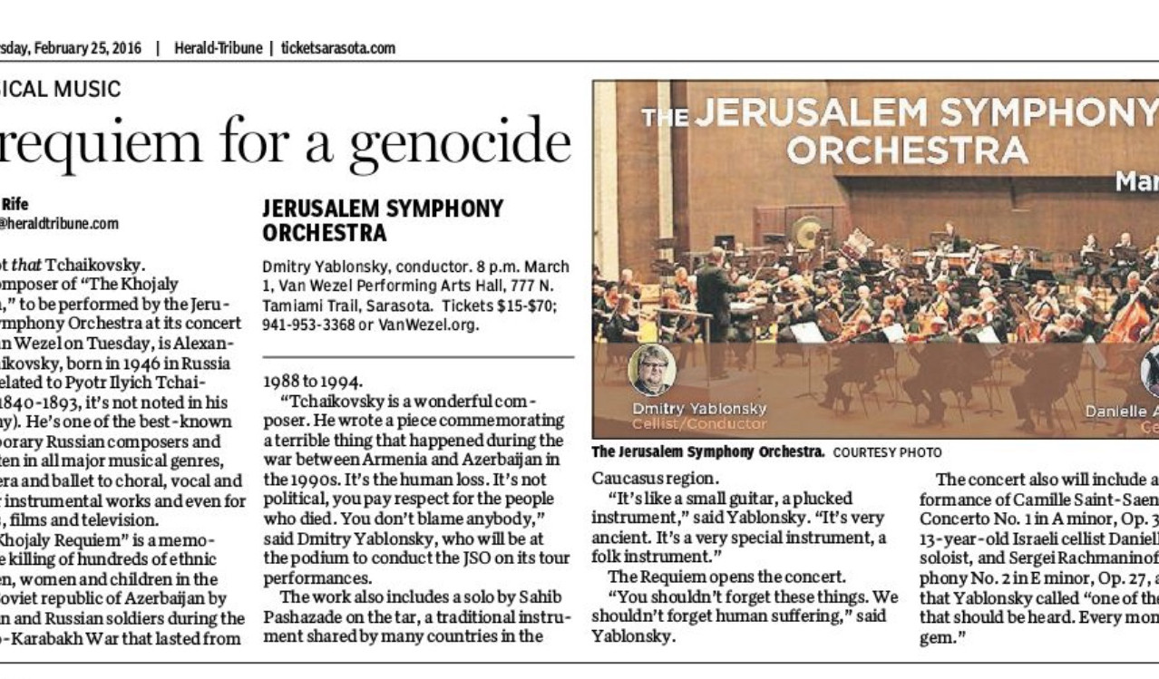 """A requiem for a genocide"" (Sarasota Herald Tribune"""
