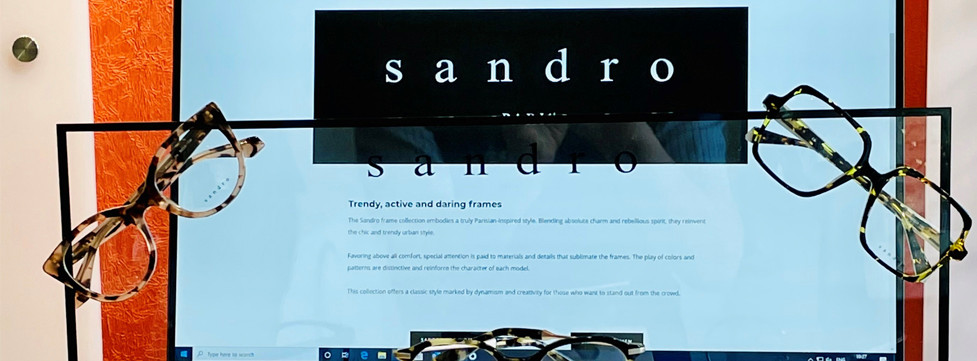 Simon Falk Eyecare Opticians in Leeds are stockists for Sandro frames from Paris