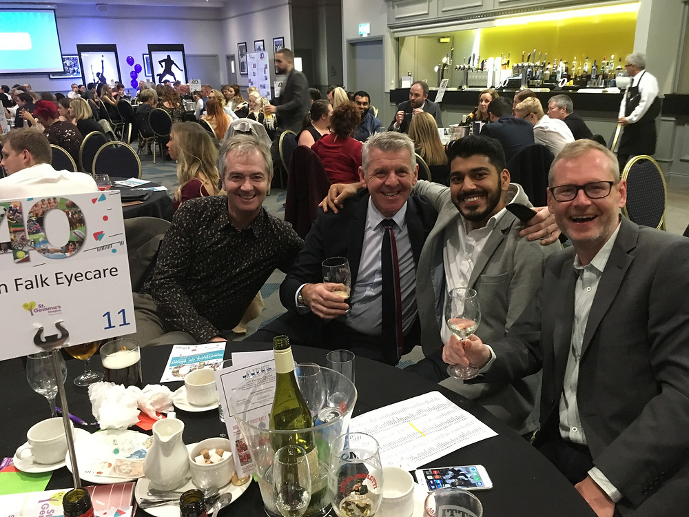 Simon Falk Eyecare opticians in Leeds at The Question of Sport Charity Dinner 2018