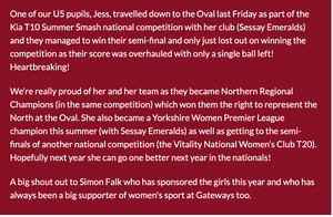A great article about one of the players that we sponsor at Sessay Emeralds.  Well done to Jess and all of the team!