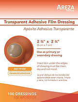 "TRANSPARENT ADHESIVE FILM DRESSING 2 ⅜"" x 2 ¾"" (7cm x 6cm) (100 PCS)"
