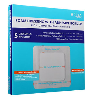 "Foam Dressing with Adhesive Border 6.5"" x 6.5"" (16.5cm x 16.5cm) Water Resistant"