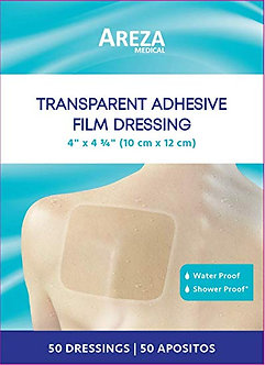 Showerproof Transparent Adhesive Film Dressing 4″ X 4.7″ (10cm x 12cm) (50 PCS)