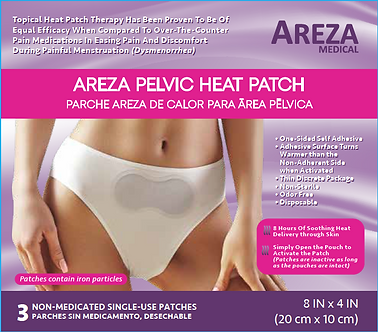 "AREZA PELVIC HEAT PATCH 8″ X 4"" (20cm x 10cm) (3 PCS)"
