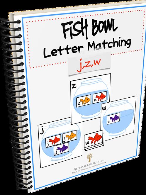 Fish Bowl Letter Match - j,z,w