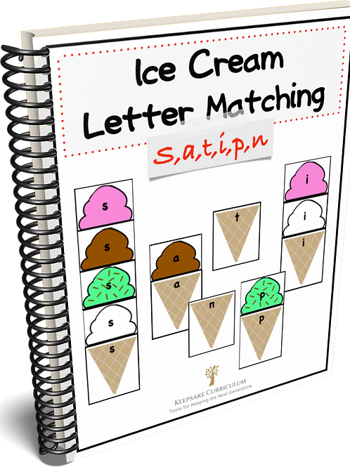 Ice Cream Letter Match - s,a,t,i,p,n