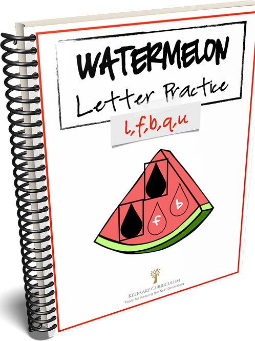 Watermelon Letter Practice - l,f,b,q,u