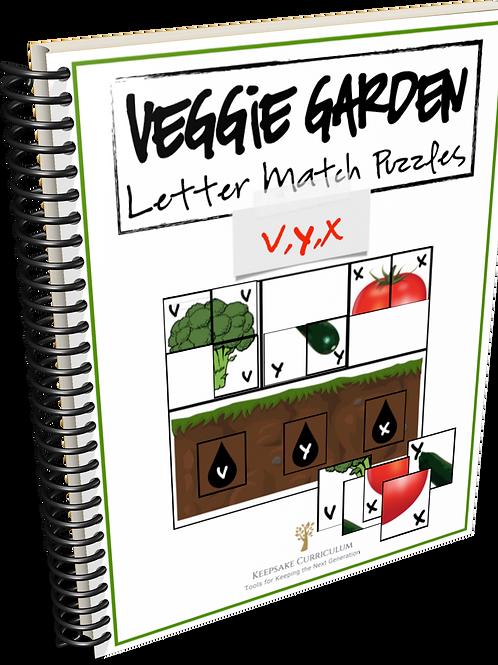 Veggie Garden Letter Match Puzzles - v,y,x