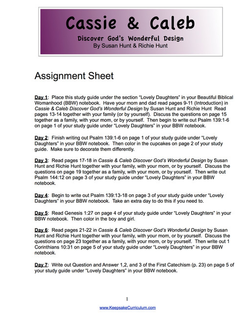 Cassie and Caleb Study Guide