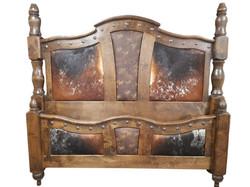 Western elegant rustic cowhide bed