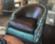 Leather and cowhide swivel chair