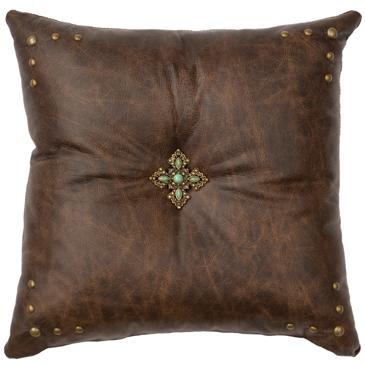 Turquoise Cross Concho Leather Pillow