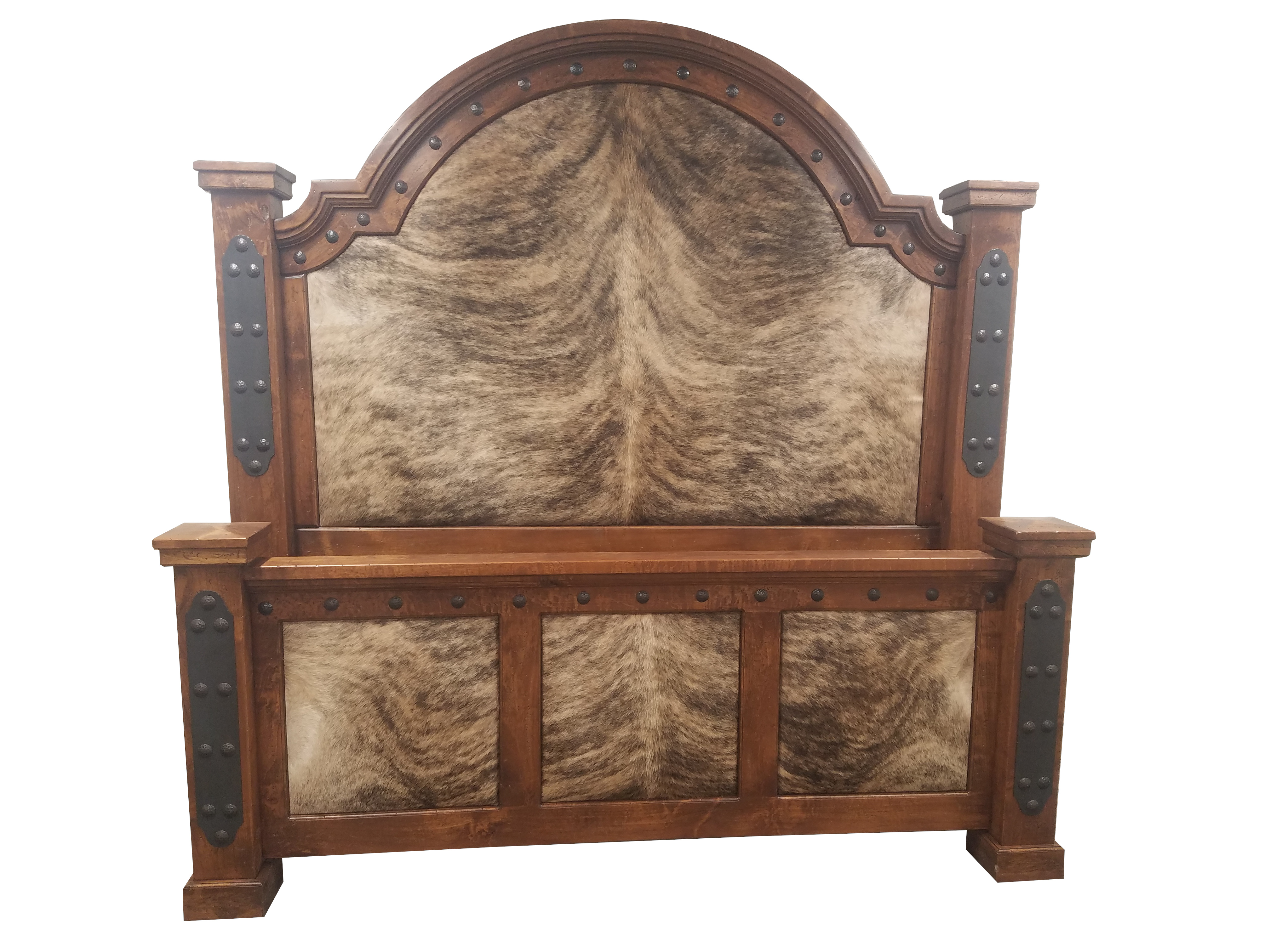 Western bed with cowhide