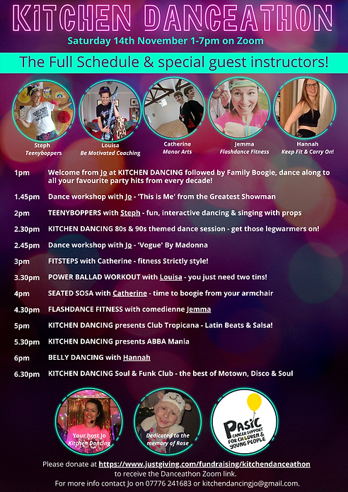 Schedule for virtual online danceathon, great fitness for adults and children, live from Beeston, Nottingham.