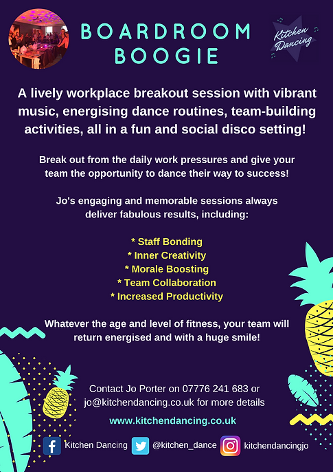 Boardroom Boogie virtual dance party, perfect for staff wellbeing activities based in Beeston, Nottingham.