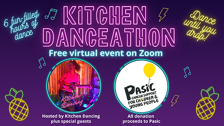 Advert for virtual online danceathon, great fitness for adults and children, live from Beeston, Nottingham.