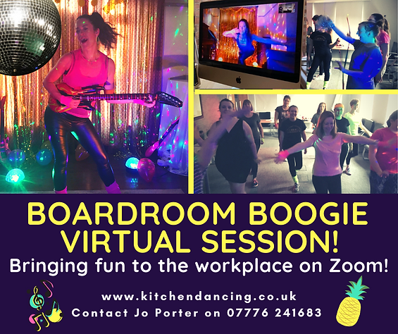 Boardroom Boogie virtual dance party for staff wellbeing activities based in Beeston, Nottingham.