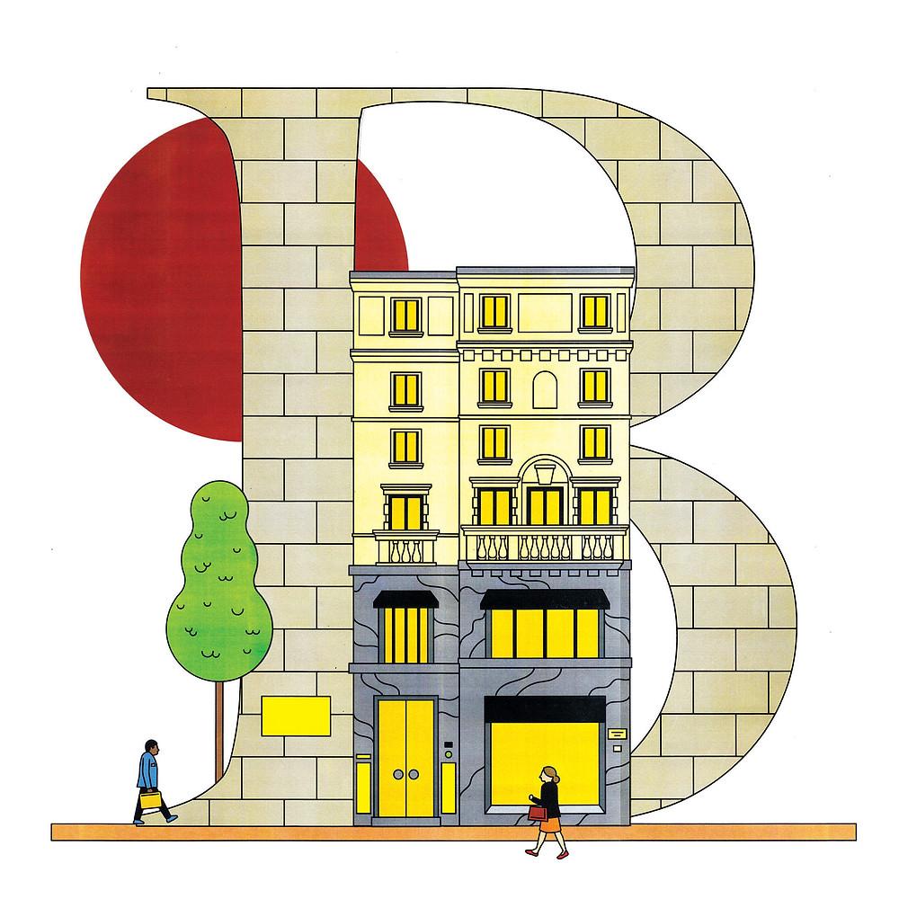 位於米蘭旗艦店的BALLY HAUS透過插畫重新呈現/B letter The flagship store 'BALLY HAUS' in Milan re-presented with illustrations
