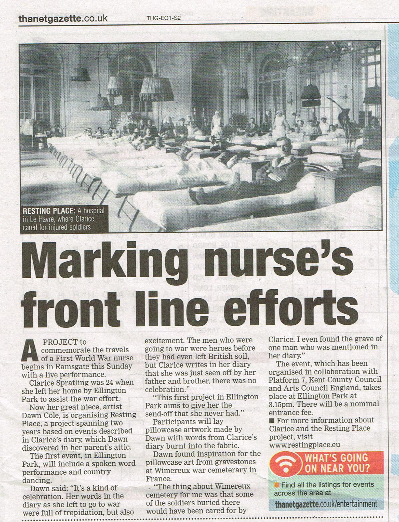 Thanet Gazette article 21Mar14 Ellington Park