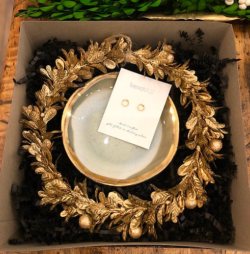 Gold Earring and Ring Dish Gift Set