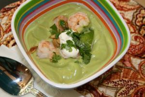 Creamy Avocado Soup with Shrimp and Pepitas