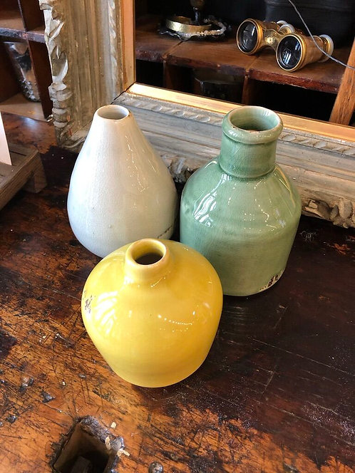 Green and Yellow Vase Set