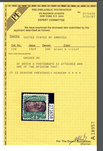 United States #120, unused. Full origina