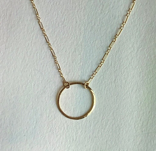 Single Gold Circle Necklace