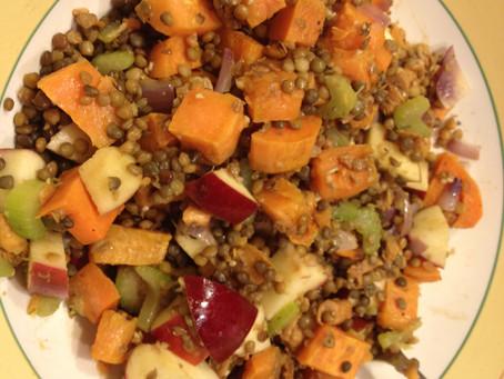 Warm Sweet Potato, Lentil and Apple Salad Bowl