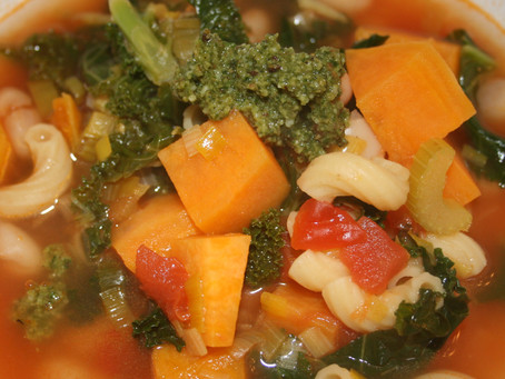 Winter Vegetable Soup with Basil-Mint Pesto