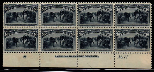 United States #240 plate block of 8, LH.
