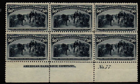 nited States #240 plate block 0f 6. VF,