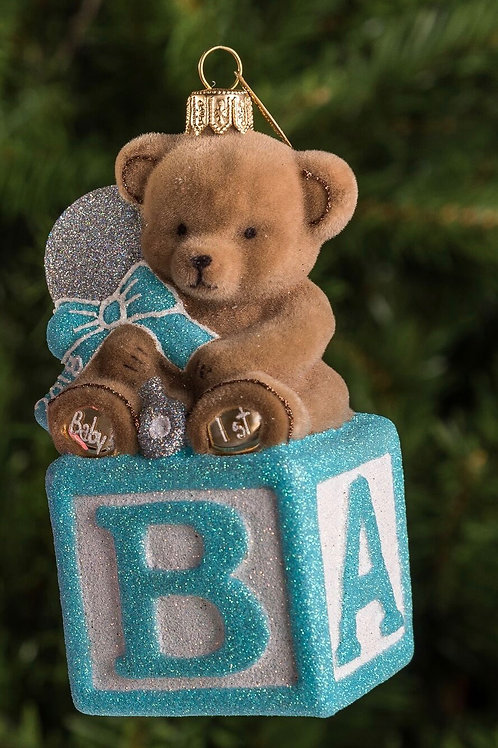 Bear on Block - Blue / W