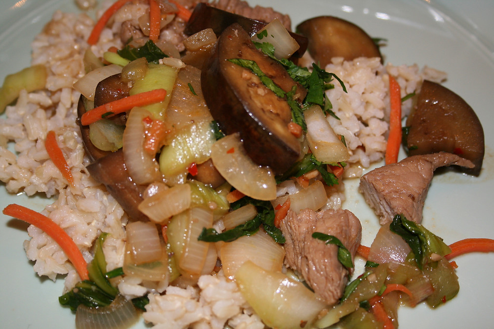 Ginger Pork Eggplant and Bok Choy Stir Fry