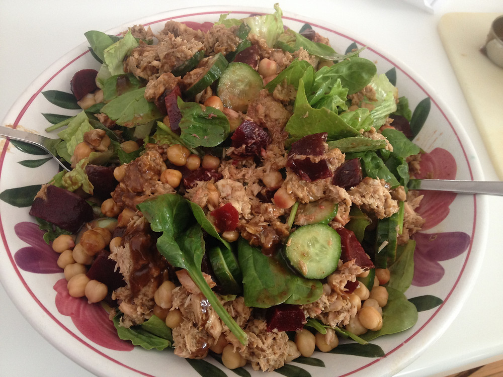 Albacore Tuna Chickpea and Roasted Beet Salad