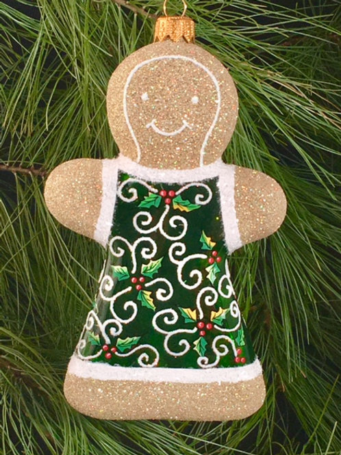 Green Holly Leaves Gingerbread Girl / W