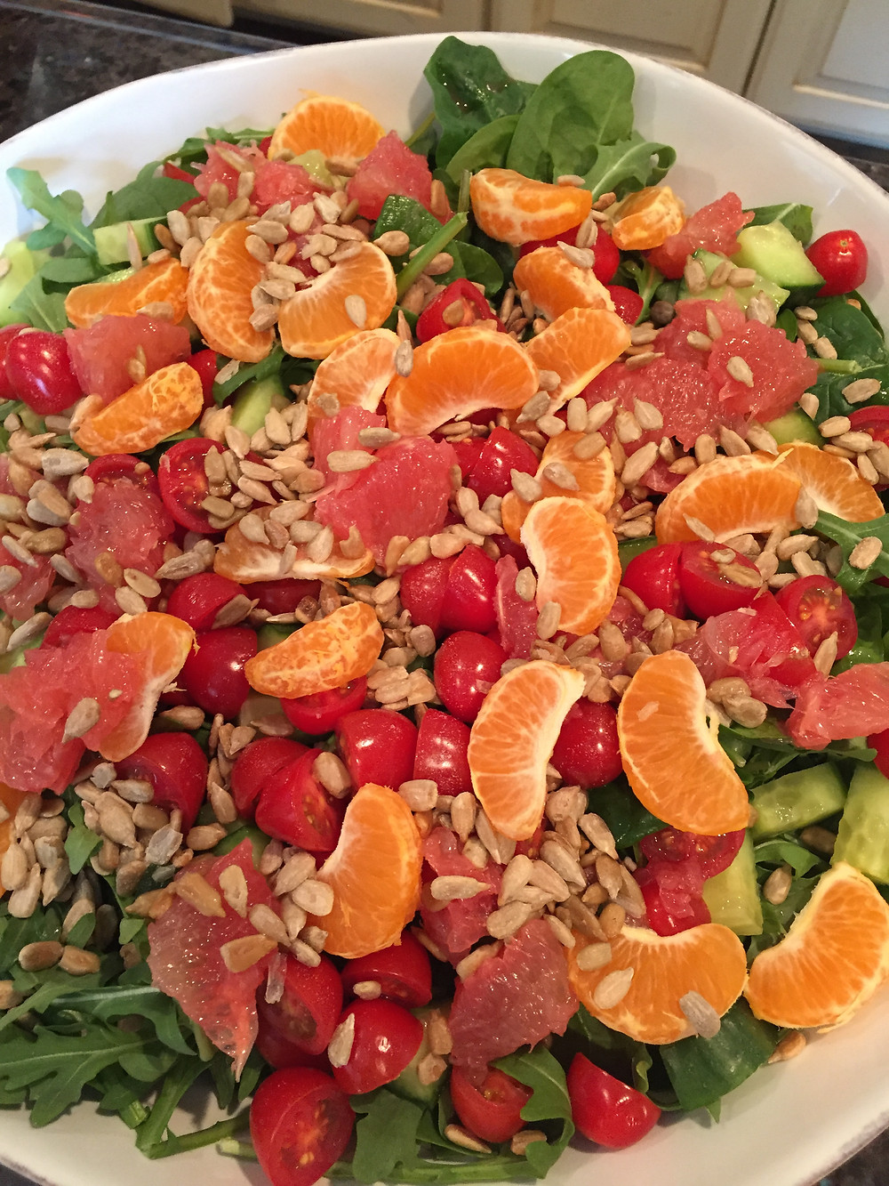 Citrus Salad with Baby Greens, Cucumber and Avocado