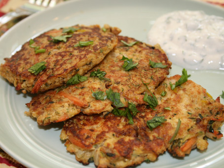 Vegetable Pancakes with Cilantro Cream