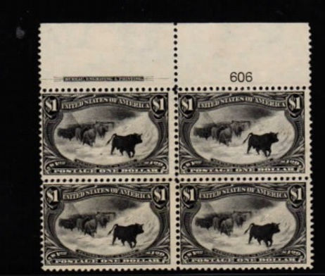 United State #292 Plate Block of 4, LH.