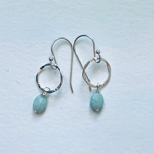 Silver and Larimar Drop Earrings