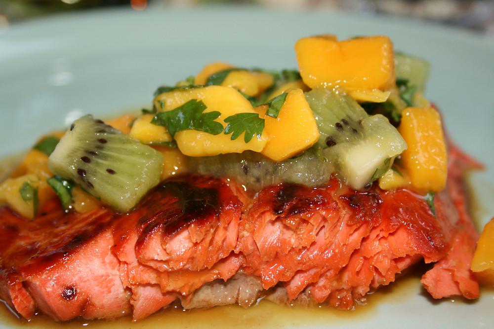 Marinated Salmon with Mango Kiwi Salsa