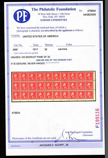 United States #499f booklet pane. Never