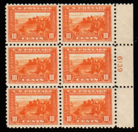 United States #404 plate block. VF, NH.