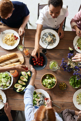 People round table of fresh food