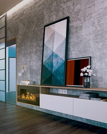 проект дизайн интерьера калининград дизайнер архитектор квартира дом ремонт строительство стройка гостиная биокамин archduet.com