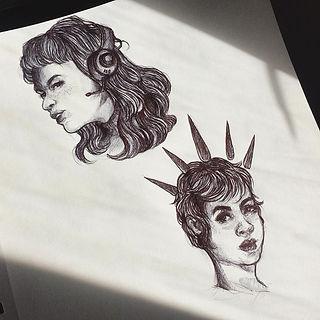 Pen Sketch Busts by DXTROSE