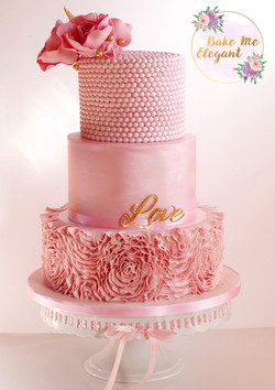 pink 3 tier wedding cake
