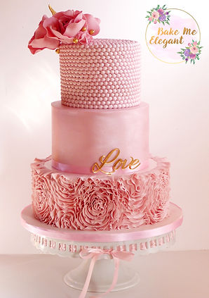 3 tier wedding cake in pink