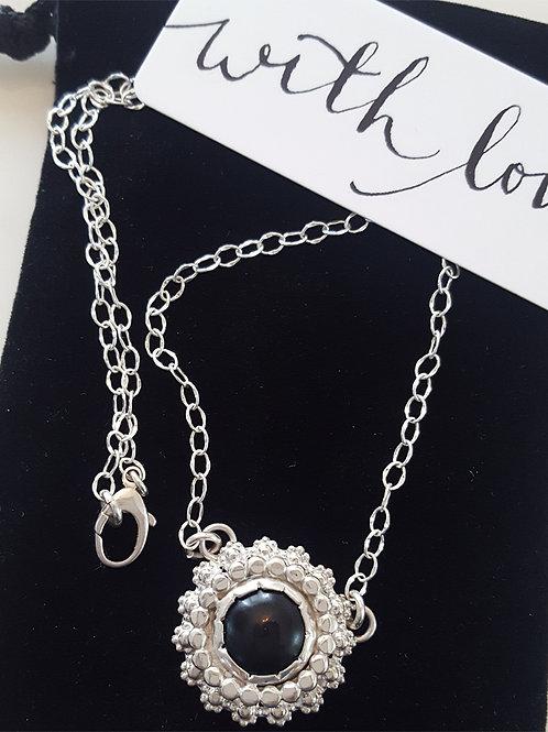 Black Onyx Double Bezel Necklace