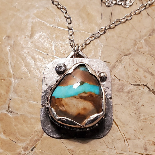 Royston Ribbon Turquoise Necklace w/ CZ